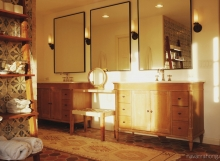 Spanish modern bath - Double sink vanity with makeup bench